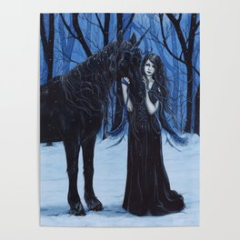 Midnight Travelers Gothic Fairy and Unicorn Poster