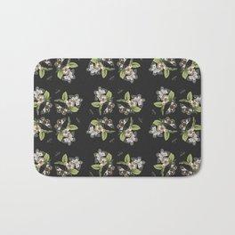 Butterflies and Camellias on Black Bath Mat