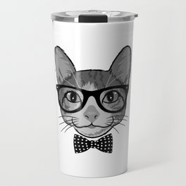 Cat Hipster With Polka Dots Bow Tie - Black White Travel Mug