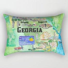 USA Georgia State Travel Poster Map with Tourist Highlights Rectangular Pillow