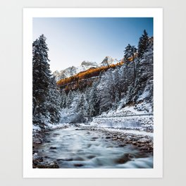 Autumn and winter river, forest and mountains Art Print