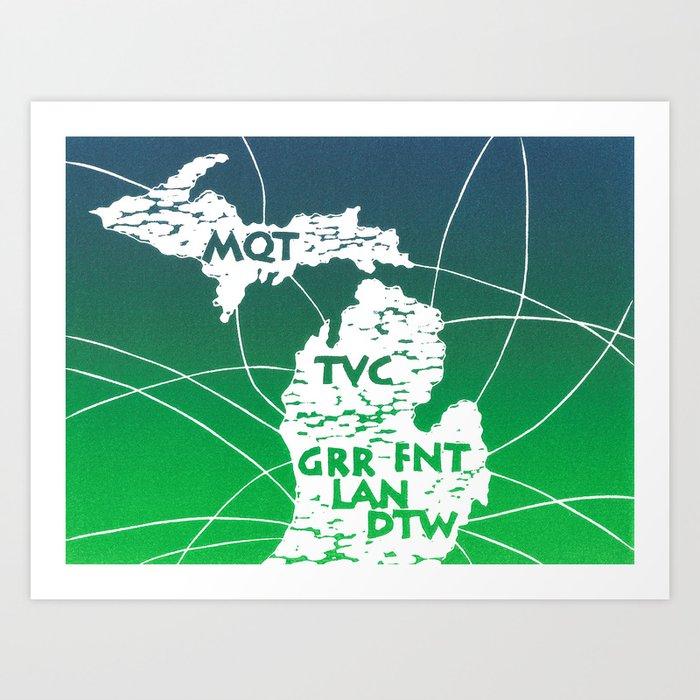 michigan airport code map linocut art print by boardingallrows