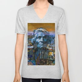 Ghost Tribe Native Americans in New York Blue Unisex V-Neck