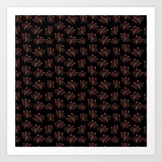 Golden red ornament seamless pattern Art Print
