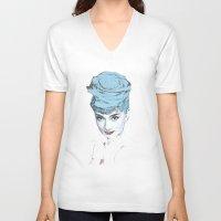 audrey V-neck T-shirts featuring Audrey by Susana Miranda ilustración