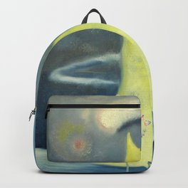 Yellow Island and Rose Tree landscape painting by Marguerite Blasingame Backpack