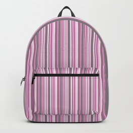 gray and pink striped . Backpack
