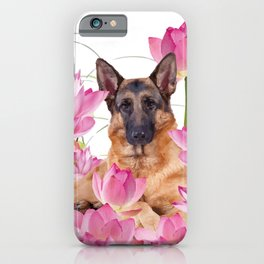 German Sheep Dog Lotos Field iPhone Case