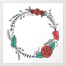 Floral Wreath Garland | Vibrant Art Print
