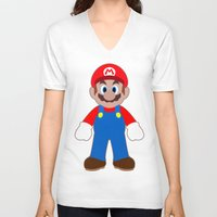sticker V-neck T-shirts featuring Sticker Mario by Rebekhaart