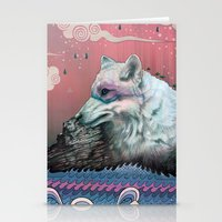 jon snow Stationery Cards featuring Lone Wolf by Mat Miller