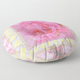 SHABBY CHIC PALE PINK  GARDEN ROSE PATTERN PINK ABSTRACT Floor Pillow