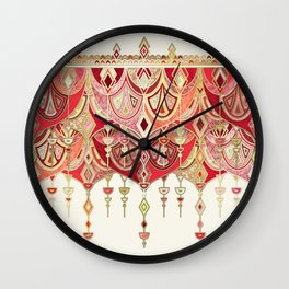 Royal Red Art Deco Double Drop Wall Clock