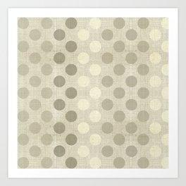 """Nude Burlap Texture and Polka Dots"" Art Print"