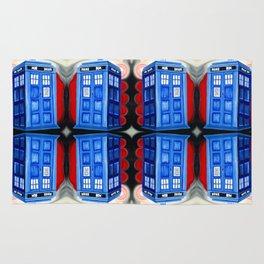 British Blue Police Public Call Box - Mirror 16 Rug