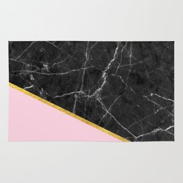 Black marble geometric gold leaf with pink Rug