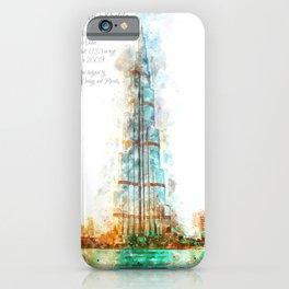 Burj Khalifa, Dubai, Aquarell iPhone Case