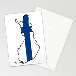 Finland Map with Finnish Flag Stationery Cards