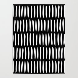 Classy Handpainted Stripes Pattern Black, Scandinavian Design Poster
