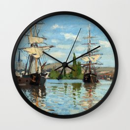 Claude Monet Ships Riding on the Seine at Rouen Wall Clock