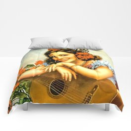 Mexican Calendar Girl with Guitar by Jesus Helguera Comforters