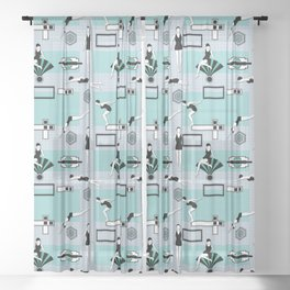 Art Deco Swimmers Sheer Curtain