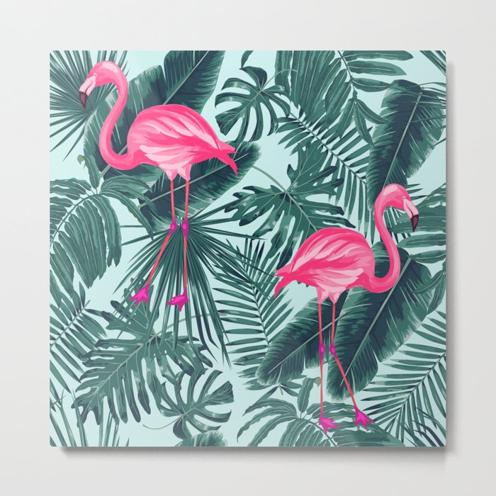 tropical pink flamingo Metal Print