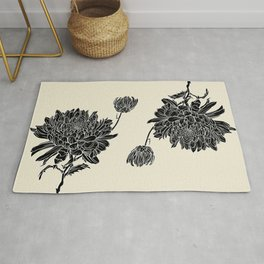 Black Chrysanthemum Rug