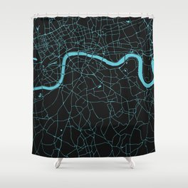 Black on Turquoise London Street Map Shower Curtain