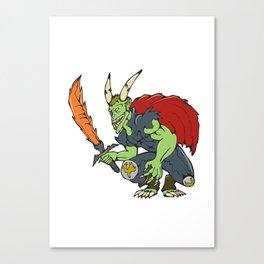 Demon Wield Fiery Sword Cartoon Canvas Print