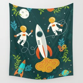 Race to the Moon with Flower Power Wall Tapestry