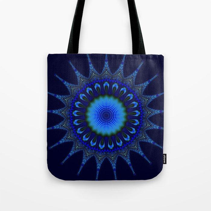 Blue kaleidoscope fractal star Tote Bag