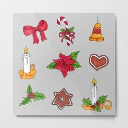 Christmas pattern (#2 grey) Metal Print