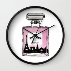 Paris perfume fashion illustration eiffel tower Wall Clock