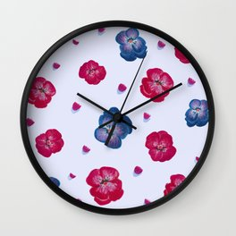 Hand painted flowers - red and blue pansies Wall Clock
