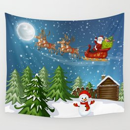 Christmas Scene Wall Tapestry