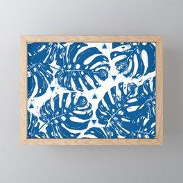 Blue Monstera Dreaming Framed Mini Art Print