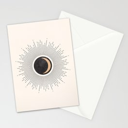 Mid Century Moon, Minimalist Geometric Abstract Art, Boho Decor, Black Sunburst Beige Crescent  Stationery Cards