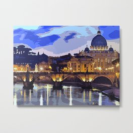 Rome, sunset over the St Peter's Basilica Metal Print