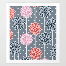 Blossom pattern with dots Art Print