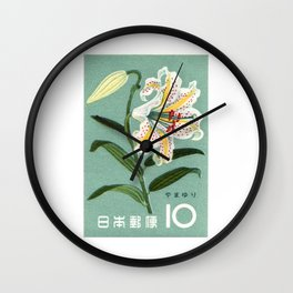 1961 JAPAN Lily Postage Stamp Wall Clock