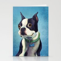 terrier Stationery Cards featuring Boston Terrier by Jackie Sullivan