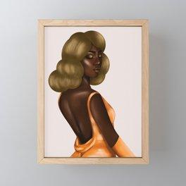 Beautiful Black Lady in Gold Dress Framed Mini Art Print