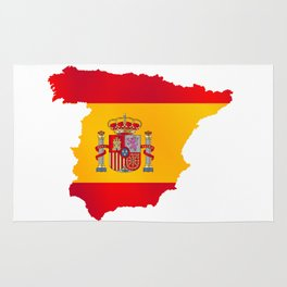 Silhouette Flag Map Of Spain Rug