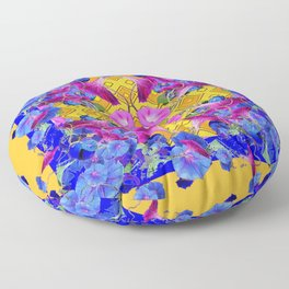 Golden Orange Blue & Fuchsia Morning Glories Garden Art Floor Pillow
