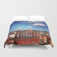 paper towns Duvet Covers featuring towns of steel by neverqueenkirk