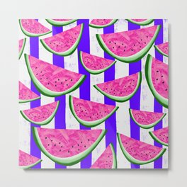 Watermelon Crush on purple stripes Metal Print