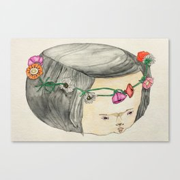 Flower Crown Frown Canvas Print
