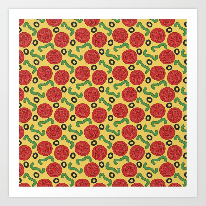 photo about Printable Pizza Toppings called Pizza Topping Behavior Artwork Print by way of northernwhimsy