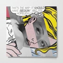 """Roy Lichtenstein's """"Hopeless"""" & Bette Davis Metal Print"""